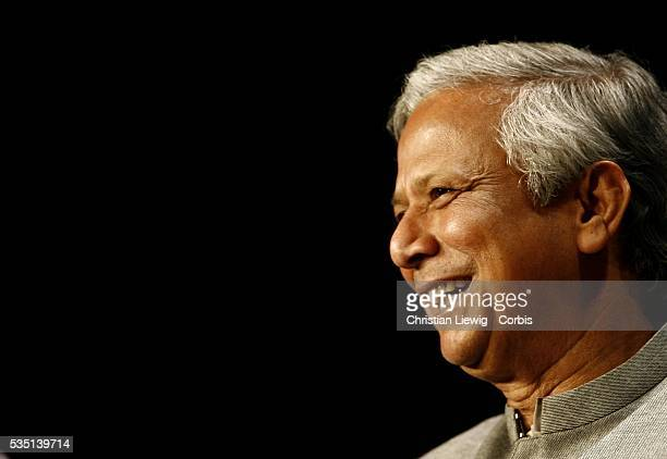 Bangladeshi 2006 Nobel Peace Prize winner Professor Mohammad Yunus the first ever Nobel laureate of Bangladesh attends a conference at the Palais des...