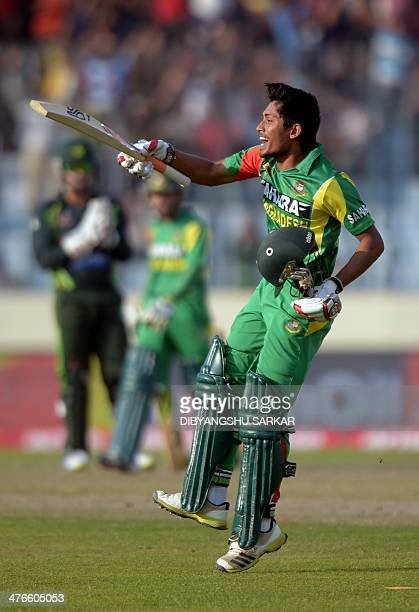 Bangladeshi batsman Anamul Haque celebrates after scoring a century during the eighth match of the Asia Cup oneday cricket tournament between...