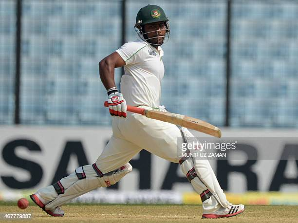 Bangladeshi batsman Imrul Khan plays a shot during the fifth and final day of the second Test match between Bangladesh and Sri Lanka at The Zahur...