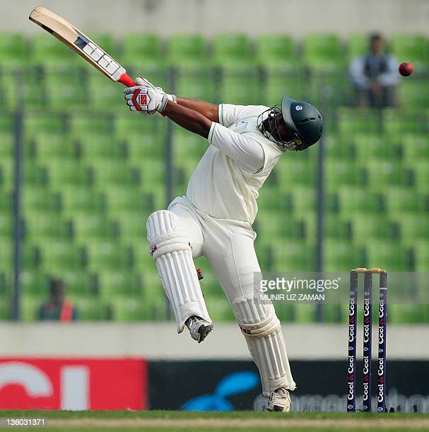 Bangladeshi batsman Shahriar Nafees plays a shot during the first day of the second cricket Test match between Bangladesh and Pakistan at the...