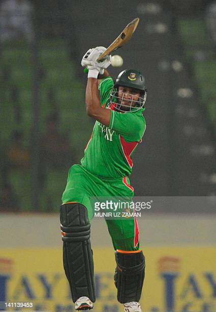 Bangladeshi batsman Shakib Al Hasan plays a shot during the one day international Asia Cup cricket match between Bangladesh and Pakistan at The...