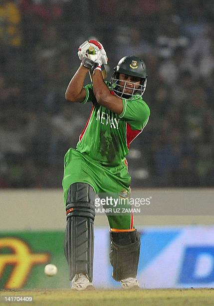Bangladeshi batsman Shakib Al Hasan plays a shot during the one day international Asia Cup cricket final match between Bangladesh and Pakistan at The...