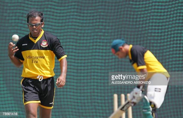 Bangladeshi bowler Rajin Saleh prepares to bowl at a team training session in Couva in central Trinidad and Tobago 13 March 2007 Bangladesh will...