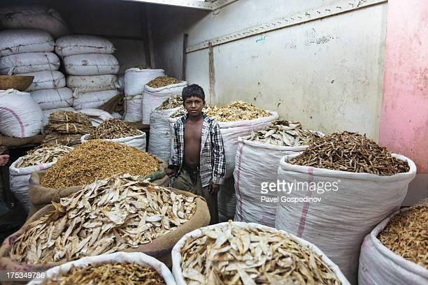 CONTENT] Bangladeshi boy among big sackcloth bags full of dry fish for sale at the Karwan Dry Fish Market Dhaka Bangladesh Indian SubContinent Asia...