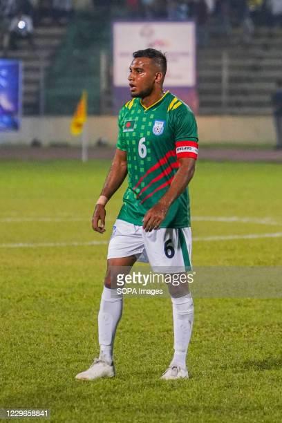 Bangladeshi captain Jamal Bhuiyan in action during the Second FIFA friendly match between Bangladesh and Nepal at Bangabandhu National Stadium. .