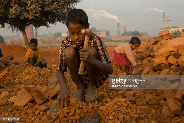 Bangladeshi child brickmakers