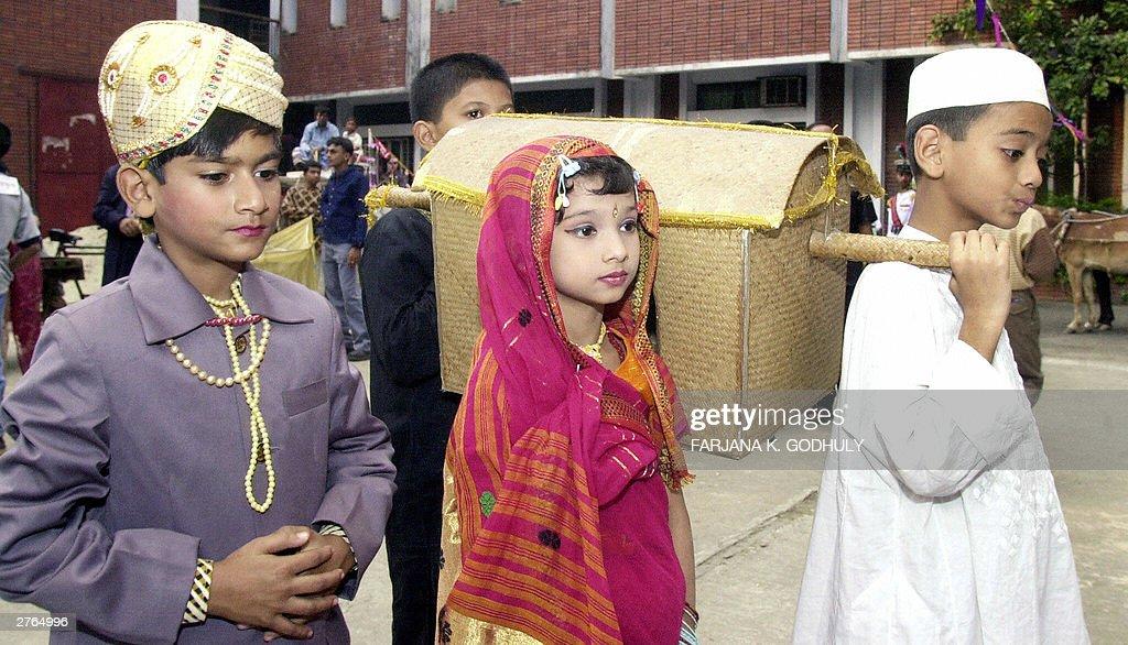 Bangladeshi Children Dressed In Traditional Wedding Costumes