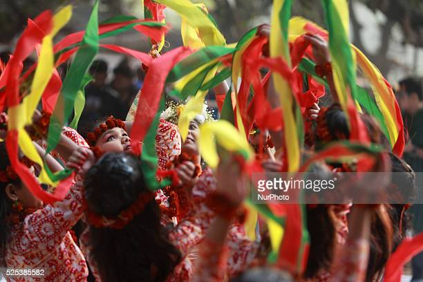 Bangladeshi children perform a traditional dance during the quotBasanta Utsabquot or spring Festival in Dhaka on February 13 2015 Hundreds of people...