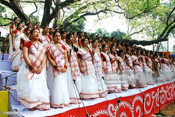 Bangladeshi children sing Boishakhi song to celebrate 'Pohela Boishakh', the first day of the Bengali New Year at Ramna Botomul in Dhaka. Bangladesh,...