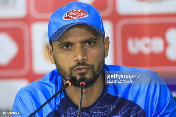 Bangladeshi cricket captain Mashrafe Bin Mortaza speaks during a press conference prior a practice session ahead of the third oneday international...