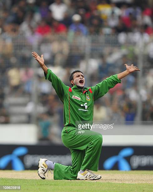 Bangladeshi cricket team captain Shakib Al Hasan appeals unsuccessfully for the leg before wicket during the last onedayinternational cricket match...