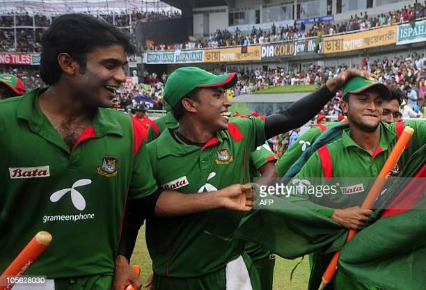 Bangladeshi cricket team captain Shakib Al Hasan celebrates with his teammates after winning the match after the last onedayinternational cricket...