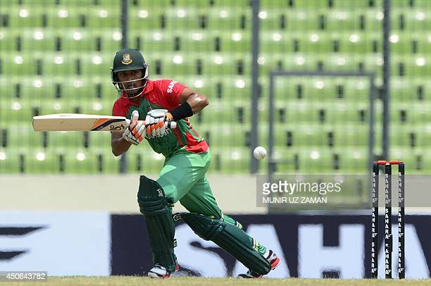 Bangladeshi cricketer Anamul Haque plays a shot during the One Day International cricket match between India and Bangladesh at the ShereBangla...