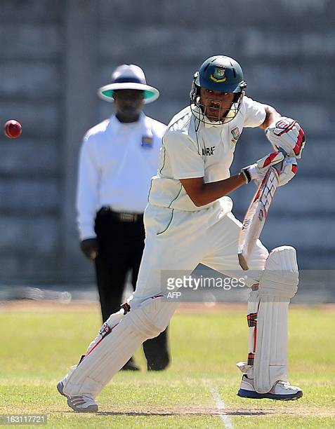 Bangladeshi cricketer Anamul Haque plays a shot during the third day of a three day practice match between the Sri Lanka Development Emerging Team...