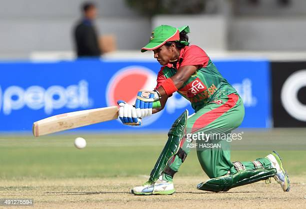 Bangladeshi cricketer Fargana Hoque plays a shot during the first women's One Day International cricket match between Pakistan and Bangladesh at the...