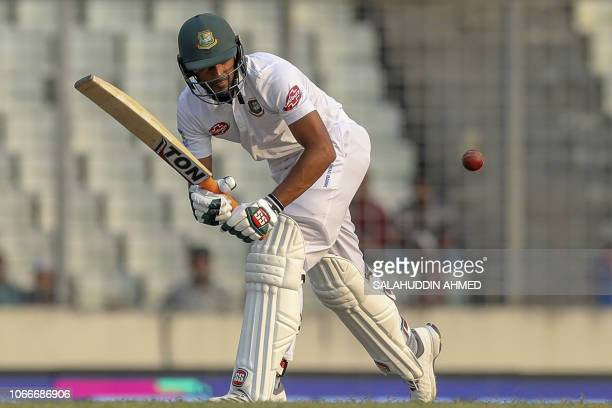 Bangladeshi cricketer Mahmudullah Riyad plays a shot during the first day of the second Test cricket match between Bangladesh and West Indies in...