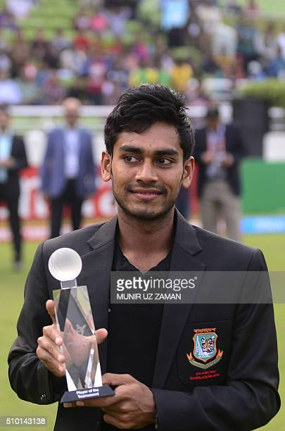 Bangladeshi cricketer Mehedi Hasan Miraz poses with the Man of the Series trophy during the presentation ceremony following the Under19 World Cup...