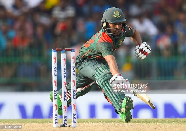 Bangladeshi cricketer Mehidy Hasan runs between the wickets during the second one day international cricket match of a threematch ODI series between...