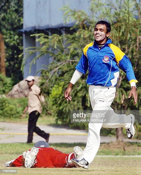 Bangladeshi cricketer Mehrah Hossain Jr celebrates the dismissal of Zimbabwean batsman Mluleki Nkala during a practice match between Bangladesh...