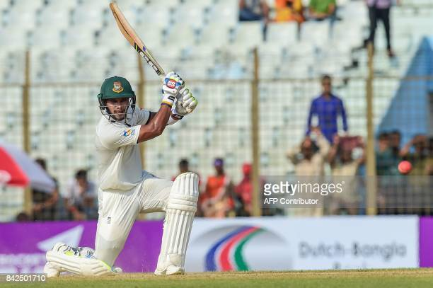 Bangladeshi cricketer Sabbir Rahman plays a shot during the first day of the second cricket Test match between Bangladesh and Australia at Zahur...