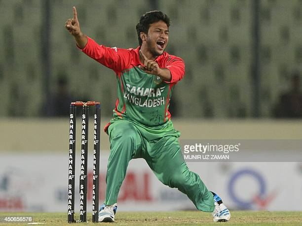 Bangladeshi cricketer Shakib Al Hasan appeals successfully for a leg before wicket decision against Indian cricketer Cheteshwar Pujara during the one...
