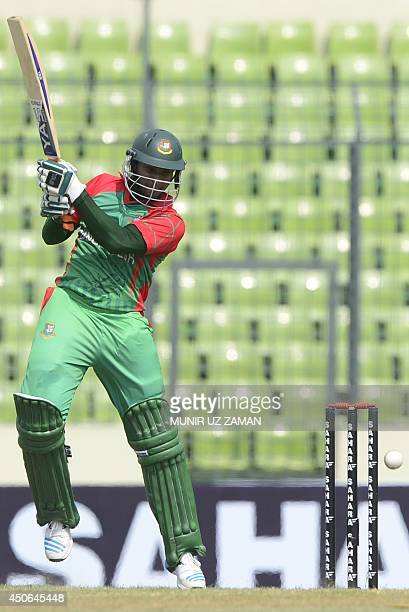 Bangladeshi cricketer Shakib Al Hasan plays a shot during the One Day International cricket match between India and Bangladesh at the ShereBangla...
