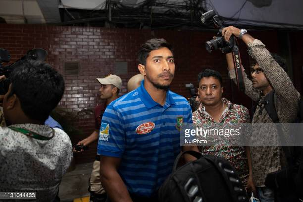 Bangladeshi cricketer Soumya Sarkar comes out from the VIP terminal in Hazrat Shahjalal International Airport Dhaka on March 16 2019 49 Muslims were...
