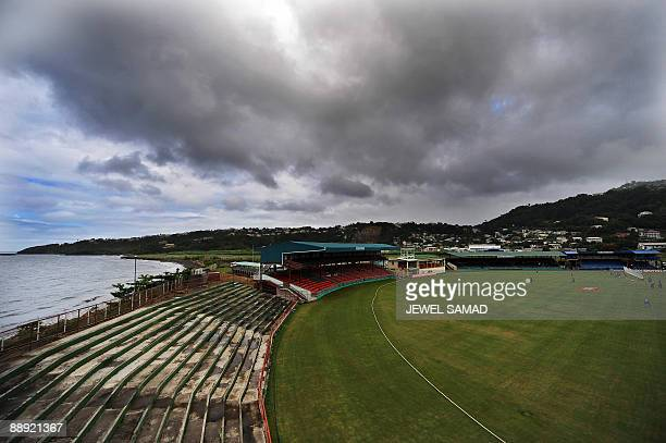 Bangladeshi cricketers warmup before the start of the first Test match between West Indies and Bangladesh at the Arnos Vale Ground in Kingstown St...