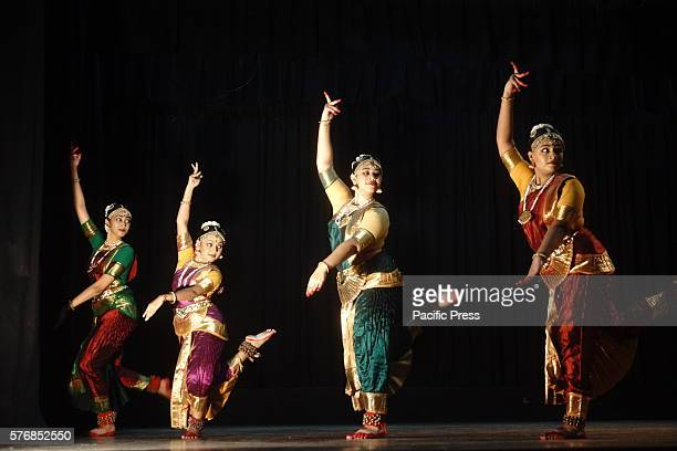 Bangladeshi dancers of Kolpotoru perform Bharatanatyam after workshop event at Chhayanaut Cultural Center during Bharatanatyam Festival in Bangladesh