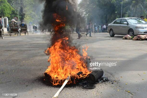 Bangladeshi different Student organization demonstration to demanding reelection to Dhaka University Central Students Union during student strike at...