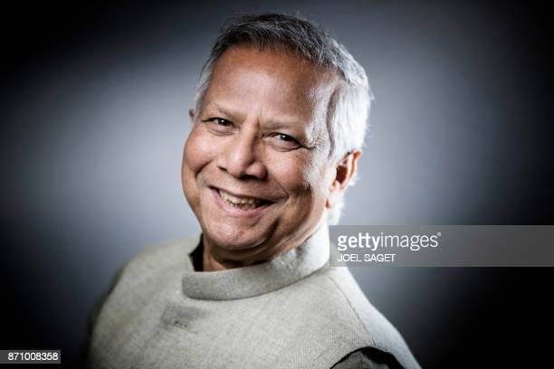 Bangladeshi economist and 2006 Nobel Peace Prize winner Muhammad Yunus poses during a photo session in Paris on November 6 2017