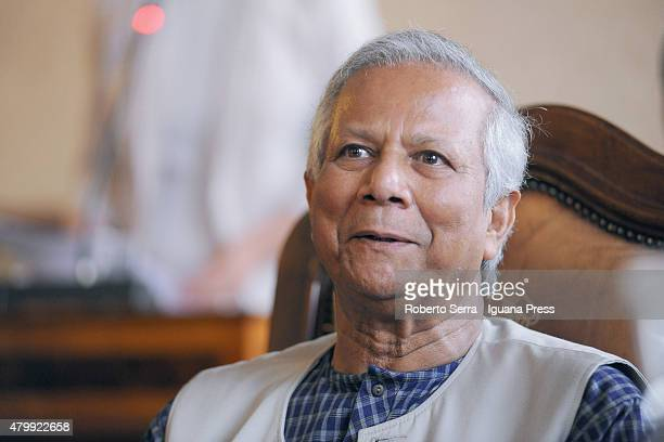 Bangladeshi economist Muhammad Yunus Nobel Prize in 2006 for Peace receives the honorary cityzenship of Bologna at Bologna's City Hall on July 8 2015...