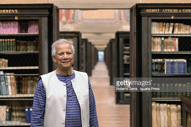 Bangladeshi economist Muhammad Yunus Nobel Prize in 2006 for Peace visits the Archiginnasio Library of Bologna on July 8 2015 in Bologna Italy