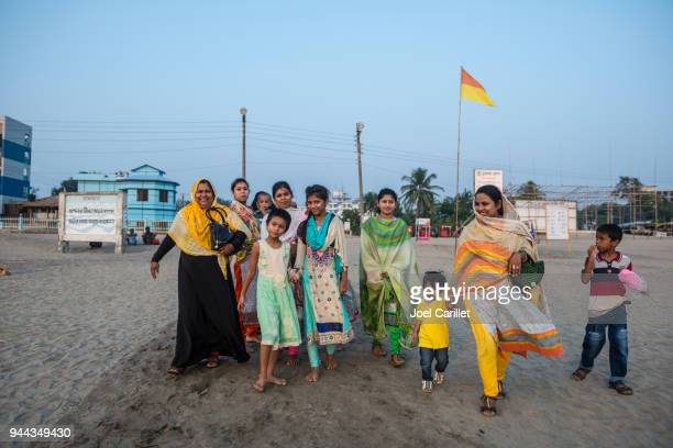 bangladeshi family at beach in cox's bazar - bangladesh mother stock pictures, royalty-free photos & images