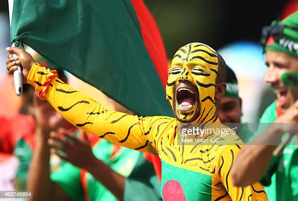 Bangladeshi fan celebrates a boundary during the 2015 ICC Cricket World Cup match between Bangladesh and Afghanistan at Manuka Oval on February 18...