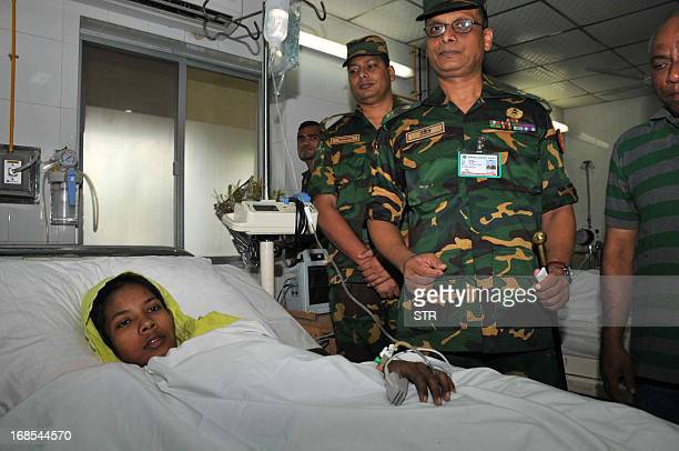 Bangladeshi garment worker Reshma, who survived seventeen days after an eight-storey building collapsed, rests in Savar Cantonment Hospital on the...