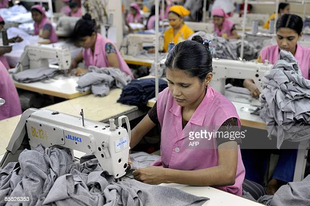 Bangladeshi Garment workers sew Tshirts at a factory in Dhaka on March 18 2009 Bangladesh is the world's second largest clothing exporter after China...