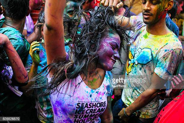 Bangladeshi Hindu devotees are celebrating holi festival in Shakhari Bazar Dhaka Bangladesh 06 March 2015 Holi is known as the festival of colors...