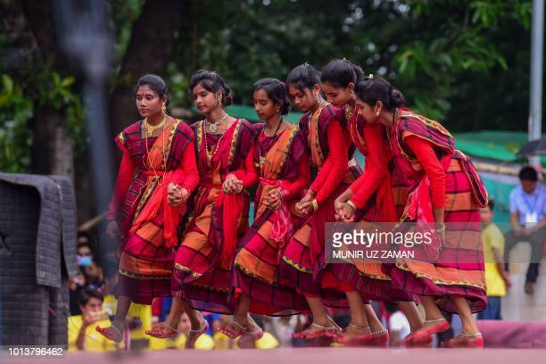 Bangladeshi indigenous women participate in a gathering in Dhaka on August 9 held to celebrate United Nations' International Day of the World's...