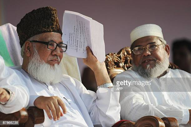 Bangladeshi Jamaateislami chief Maulana Motiur Rahman Nizami attends a rally in Dhaka on May 20 2009 in protest against the construction of Tipaimukh...