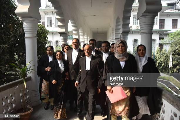 Bangladeshi Lawyers walks on the corridor of Bangladesh Supreme court in Dhaka Bangladesh on February 4 2018 More than 6500 thousand lawyers are...