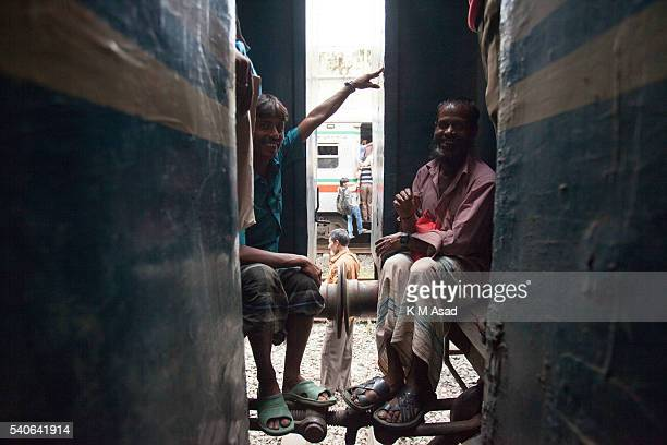 Bangladeshi lower class people take risks to travel to their villages by train in Dhaka Bangladesh July 16 2015 Millions of Bangladeshis are expected...