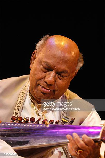 Bangladeshi musician Ali Akbar Khan plays sarod a stringed instrument at the World Music Institute's '80th Birthday Celebration of the Grand Master...