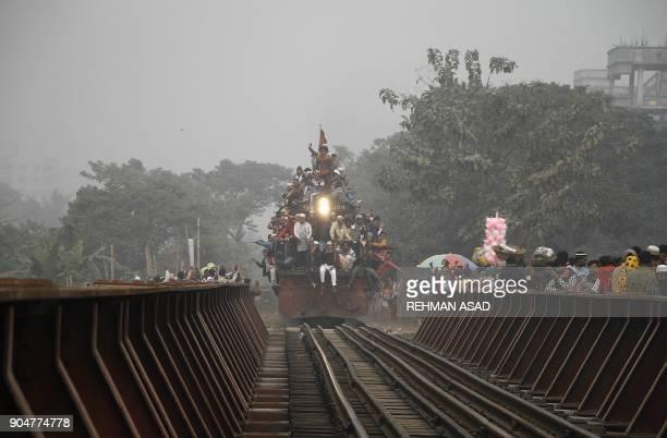 Bangladeshi Muslim devotees leave on a crowded train to take part in Akheri Munajat or final prayers at the Biswa Ijtema or World Muslim Congregation...