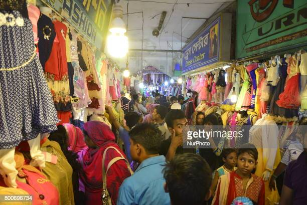 Bangladeshi Muslim peoples busy in shopping at New Market ahead of Eid alFitr festival during the holy month of Ramadan in Dhaka Bangladesh on June...