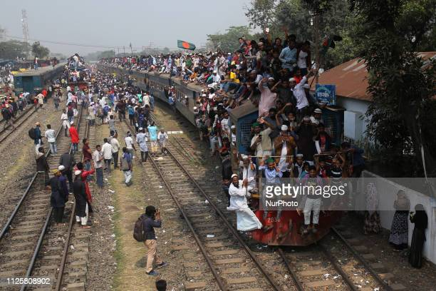 Bangladeshi Muslims leave on an overcrowded train after participate in Akheri Munajat or final prayers as the annual Muslims congregation known as...