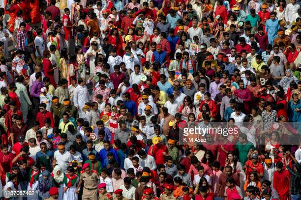 Bangladeshi people attend a rally to celebrate the Bengali New Year or 'Pohela Boishakh 1426' in Dhaka People attend with colorful clothes in 'Pohela...