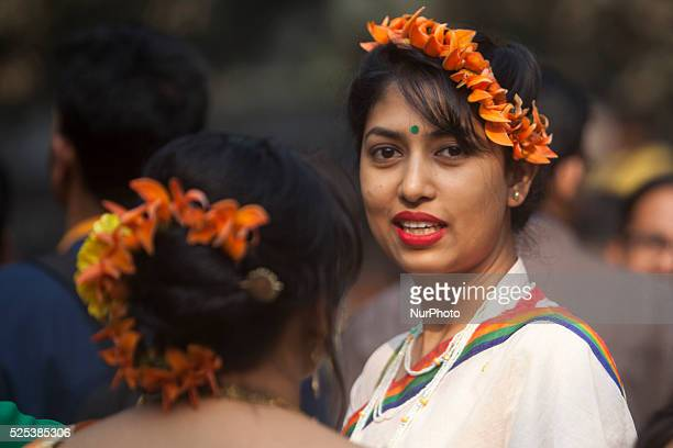 Bangladeshi people attended the quotBasanta Utsabquot or spring Festival in Dhaka on February 13 2015 Hundreds of people joined in the cultural...