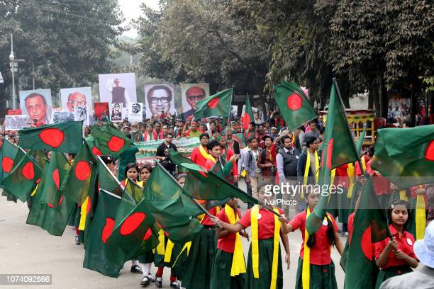 Bangladeshi people participate in a rally during the Victory Day celebrations in Dhaka Bangladesh on December 16 2018 Bangladesh marks its 48th...