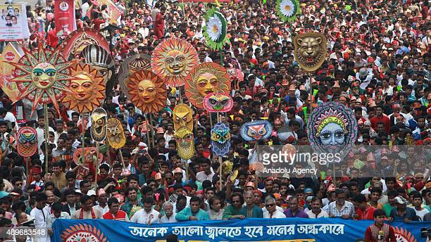Bangladeshi people participate in a rally to celebrate the first day of the Bengali New Year or Pohela Boishakh in Dhaka Bangladesh on April 14 2015